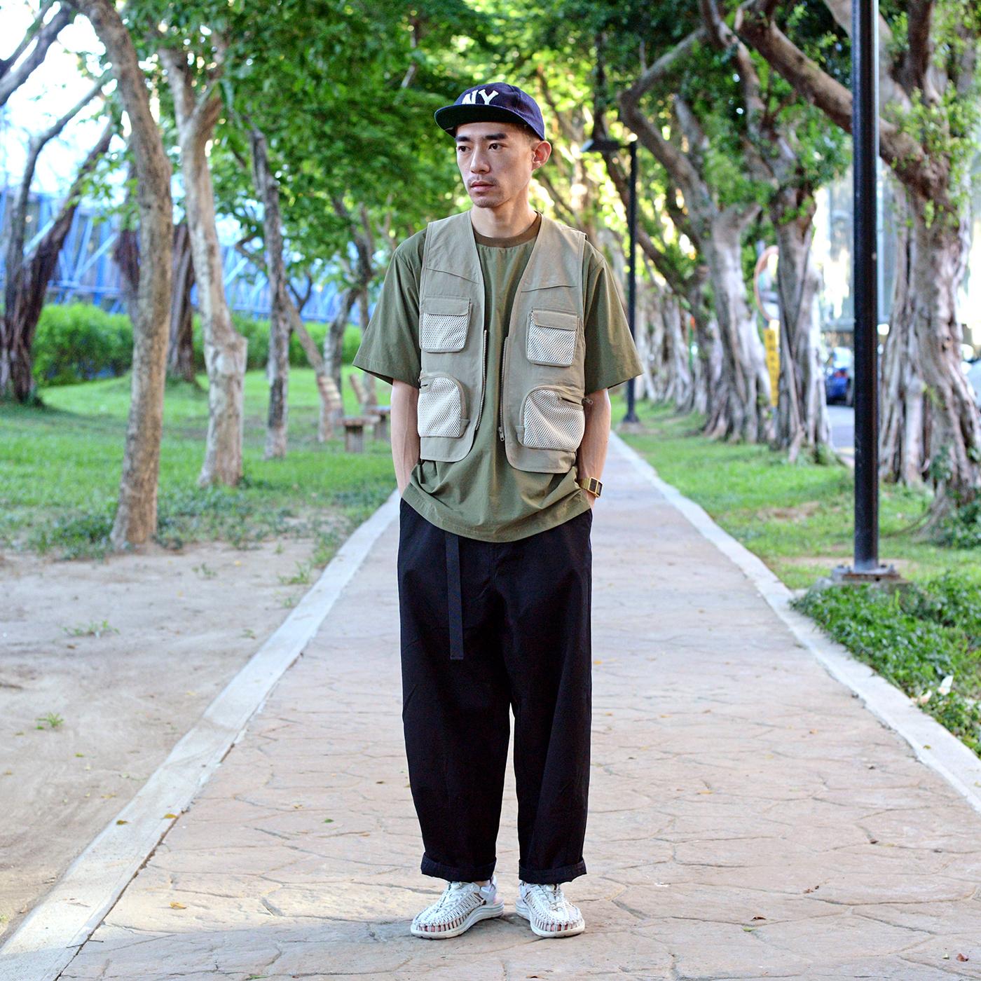 搭配,街拍,穿搭,換季穿搭,搭配提案,服裝,釣魚背心,寬褲,繭型,COP